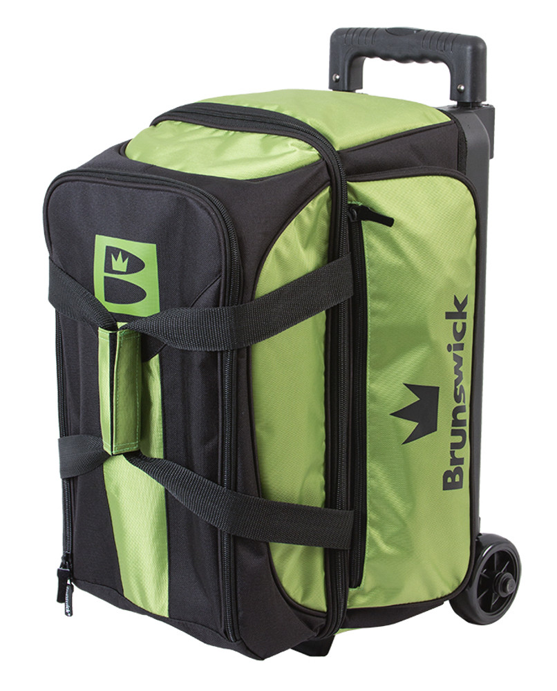 Brunswick Blitz 2 Ball Double Roller Bowling Bag Lime