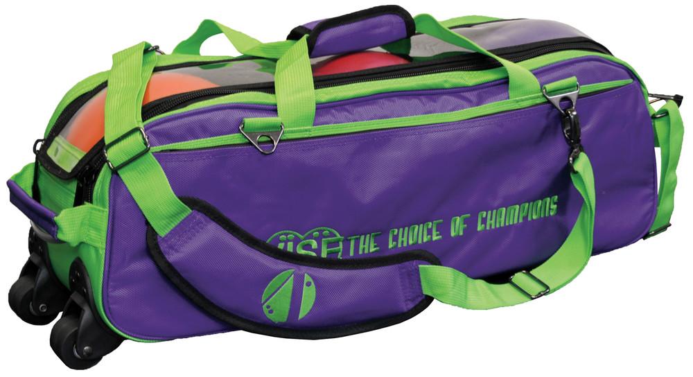 Vise 3 Ball Clear Top Roller Bowling Bag Grape Green
