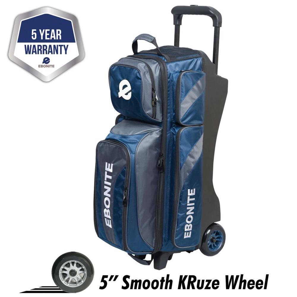 Ebonite Equinox 3 Ball Triple Roller Bowling Bag Navy Charcoal