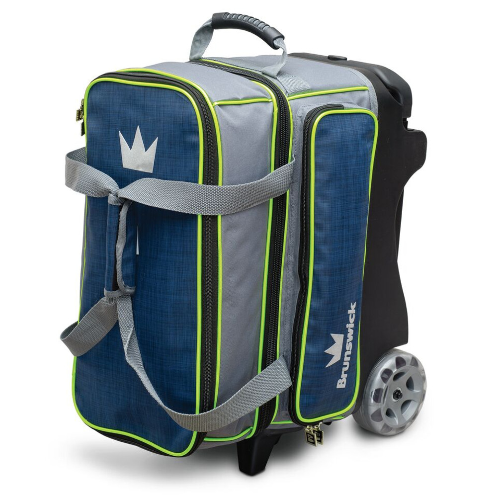 Brunswick Crown Deluxe 2 Ball Double Roller Bowling Bag Navy Lime