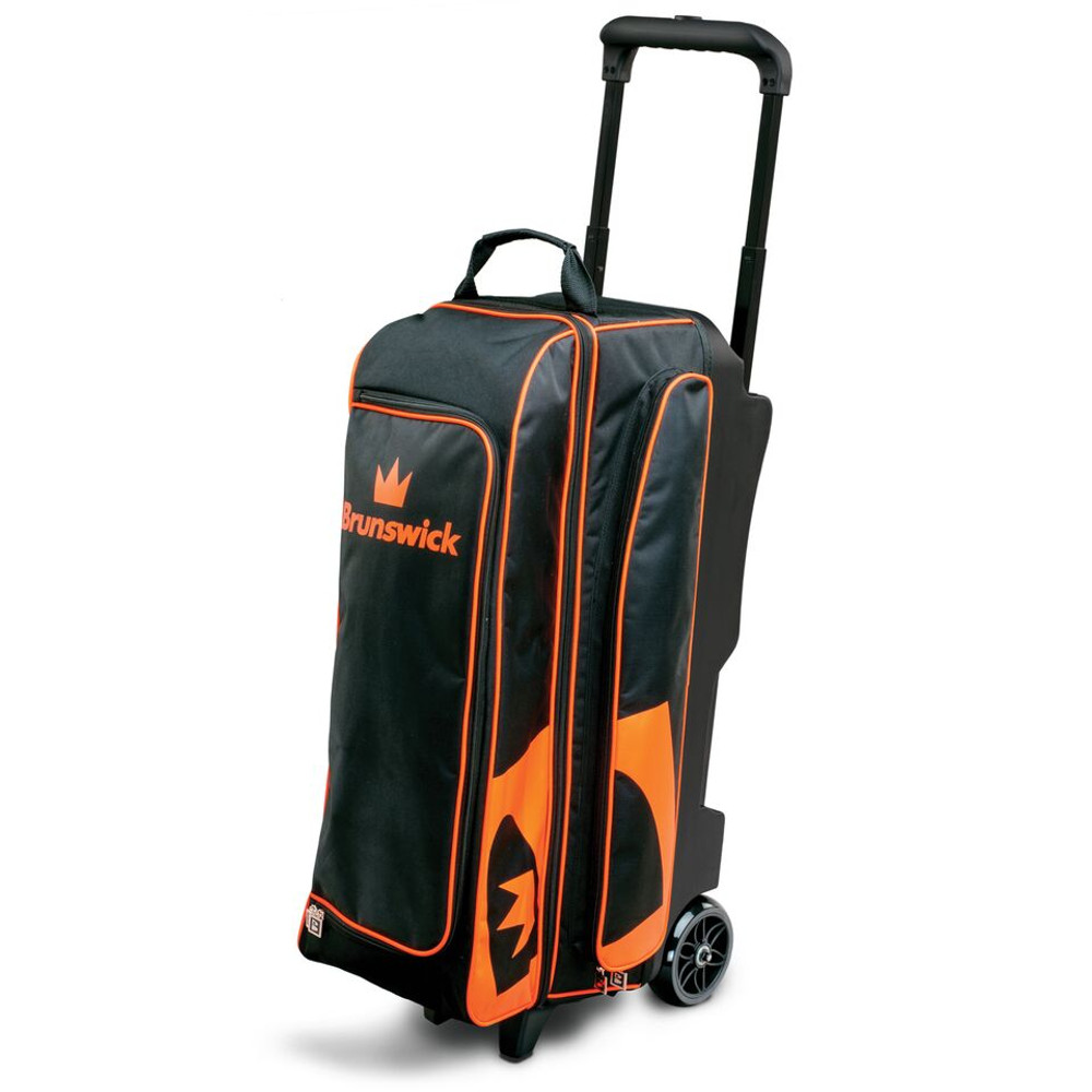 Brunswick Blitz 3 Ball Triple Roller Bowling Bag Black Orange