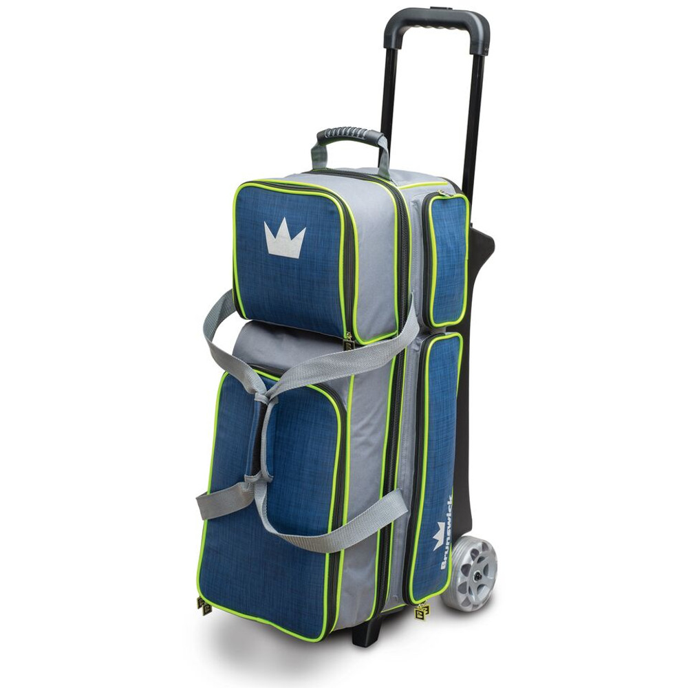Brunswick Crown Deluxe 3 Ball Triple Roller Bowling Bag Navy Lime