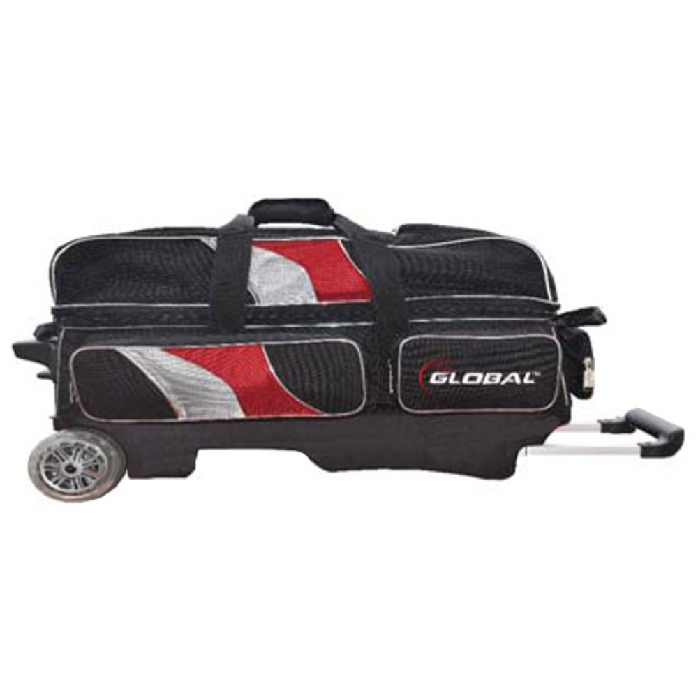 900 Global Deluxe 3 Ball Triple Roller Bowling Bag Red Black Silver