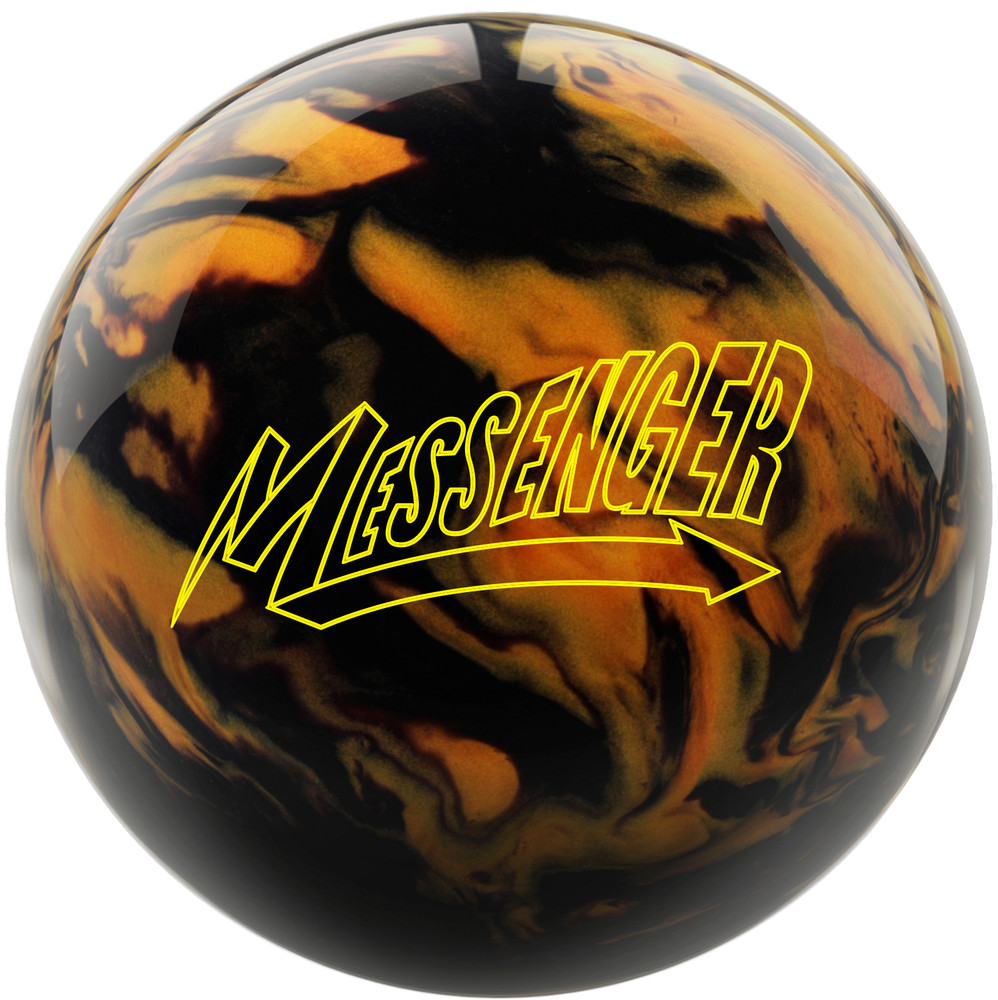 Messenger Bowling Ball Black Gold Front View