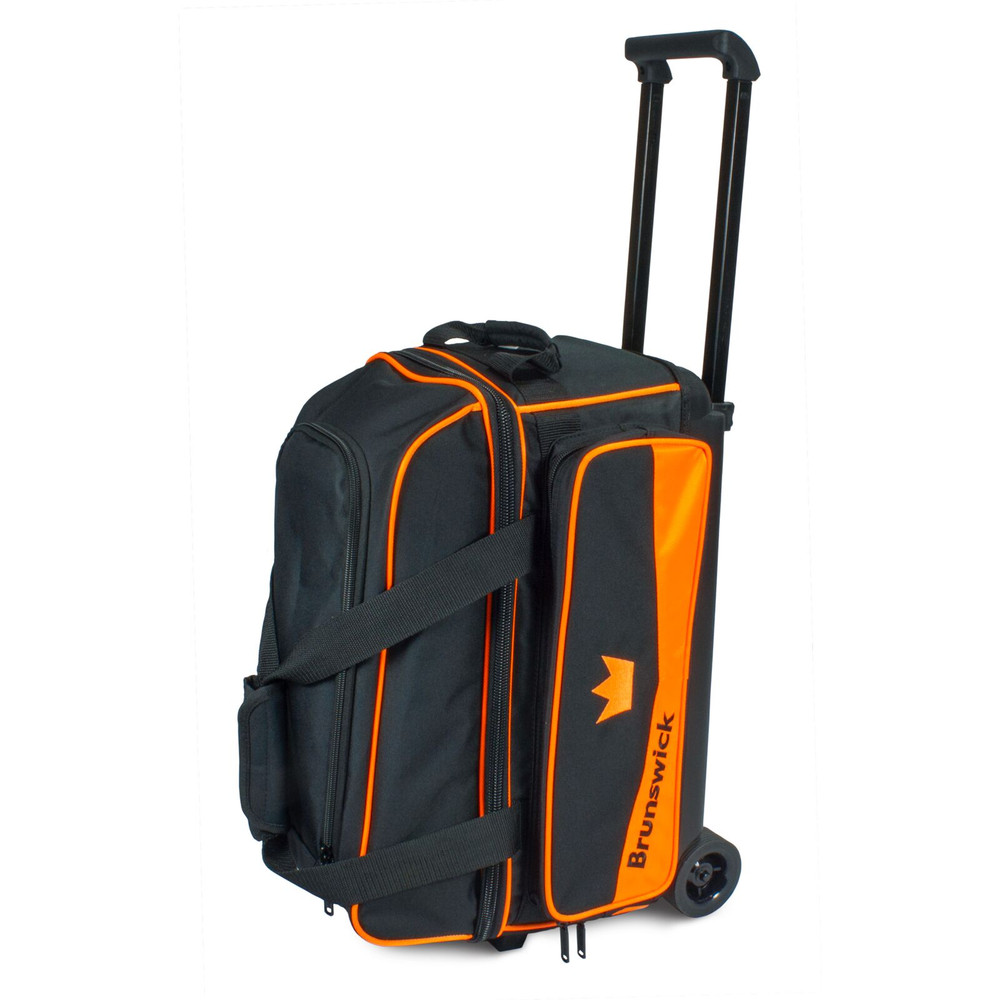 Brunswick Zone 2 Ball Double Roller Bowling Bag Orange