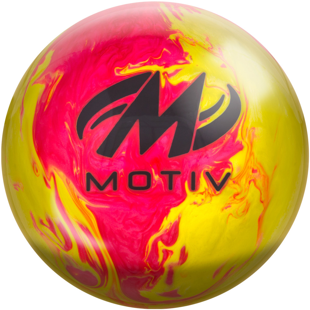 Motiv Thrill Bowling Ball Pink Yellow Pearl Back View