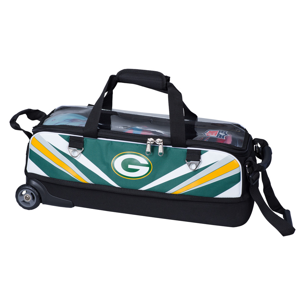 KR NFL 3 Ball Slim Triple Roller Tote Bowling Bag Green Bay Packers