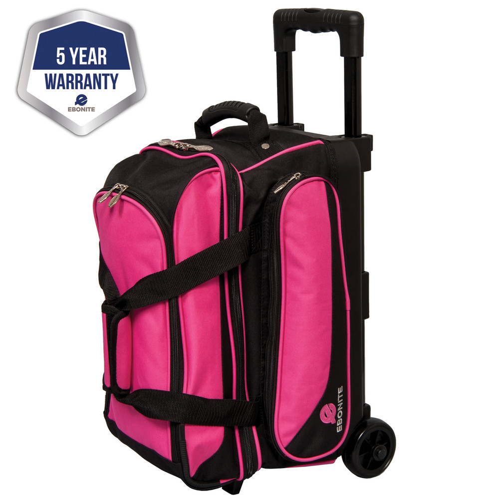 Ebonite Transport 2 Ball Double Bowling Bag Roller Pink
