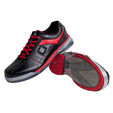 runswick TPU X Mens Bowling Shoes Black Red Right Hand Wide width  stacked angle view