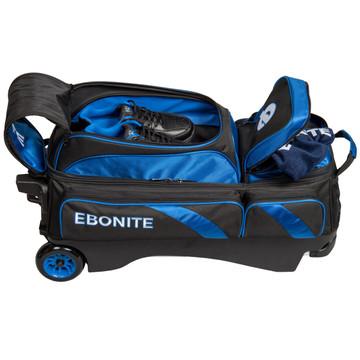 Ebonite Equinox 3 Ball Triple Roller Bowling Bag Black Blue