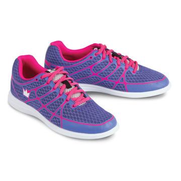 Brunswick Aura Women's Bowling Shoes Purple Pink angle view both shoes