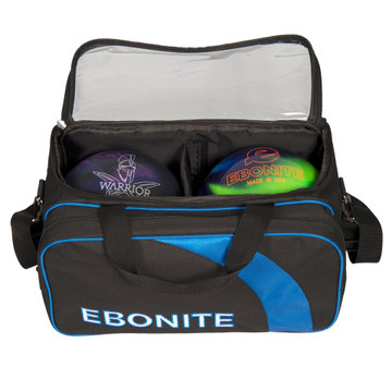 Ebonite Equinox 2 Ball Double Tote Bowling Bag with Shoe Pouch Black Blue