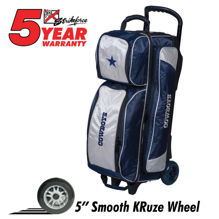 KR NFL 3 Ball Triple Roller Bowling Bag Dallas Cowboys
