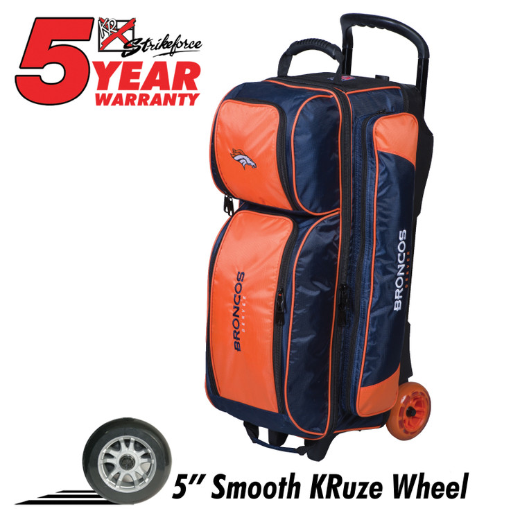 KR NFL 3 Ball Triple Roller Bowling Bag Denver Broncos