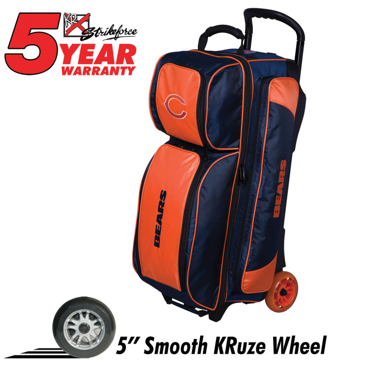 KR NFL 3 Ball Triple Roller Bowling Bag Chicago Bears