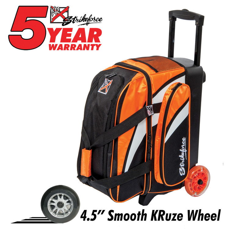 KR Cruiser Smooth 2 Ball Double Roller Bowling Bag Orange