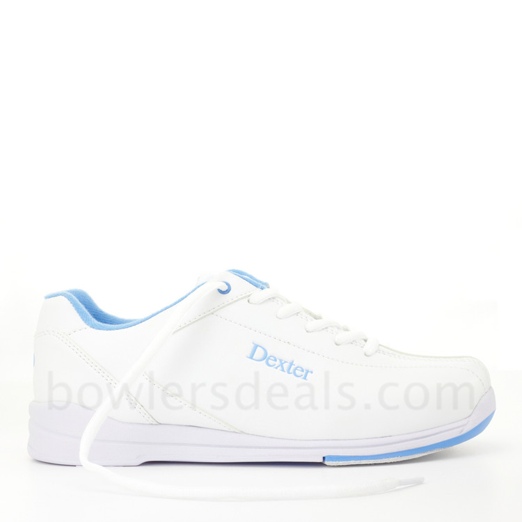 Dexter Raquel IV Jr Bowling Shoes White Blue Girls side view