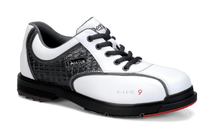 Dexter T.H.E. 9 Mens Bowling Shoes White Grey Croc side view