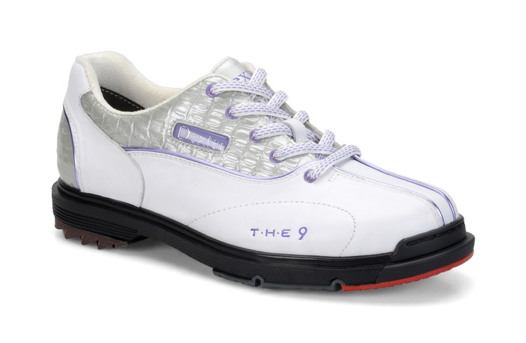 Dexter T.H.E. 9 Womens Bowling Shoes White Silver Croc Wide Width side view