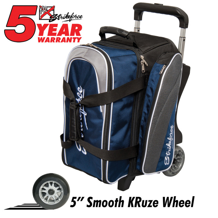 KR Strikeforce Apex 2 Ball Double Roller Bowling Bag Navy