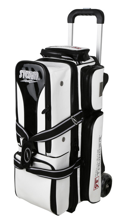Storm Rolling Thunder 3-Ball Roller Bowling Bag White Black Signature