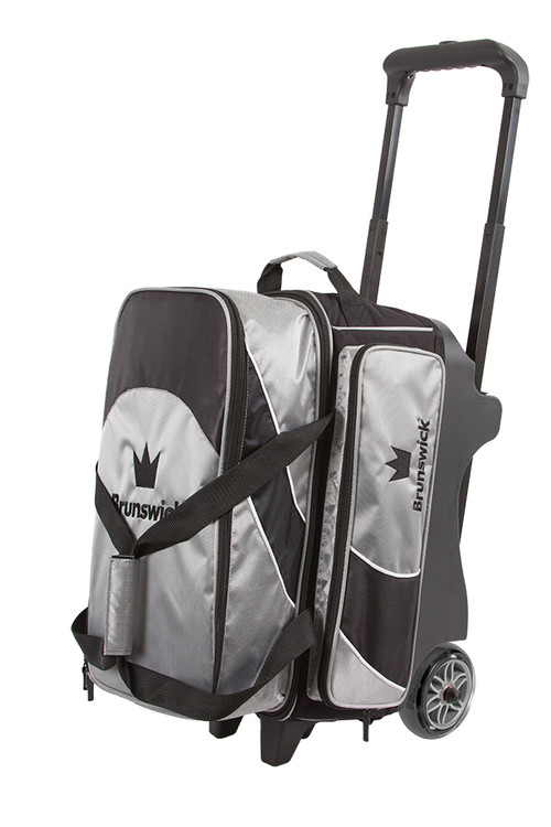 Brunswick Edge 2 Ball Double Roller Bowling Bag Silver