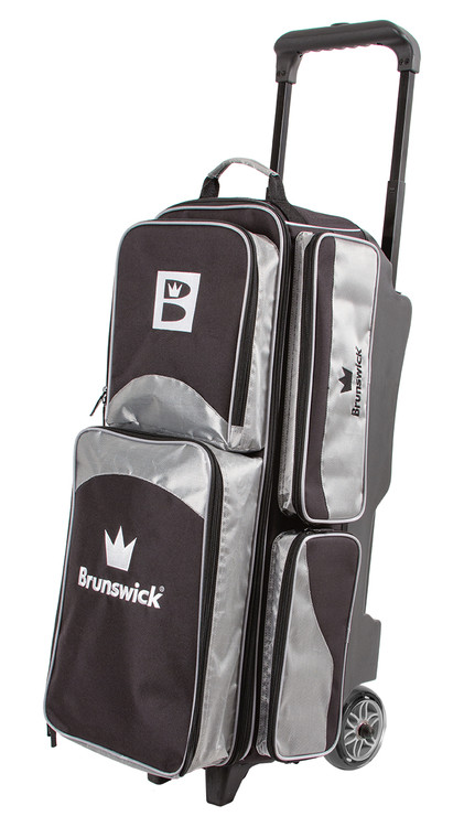 Brunswick Edge 3 Ball Triple Roller Bowling Bag Silver