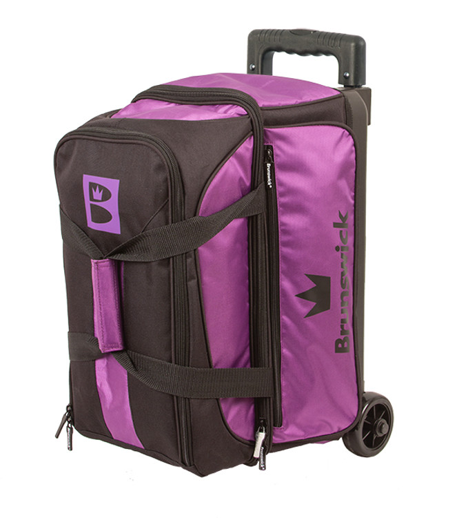 Brunswick Blitz 2 Ball Double Roller Bowling Bag Purple