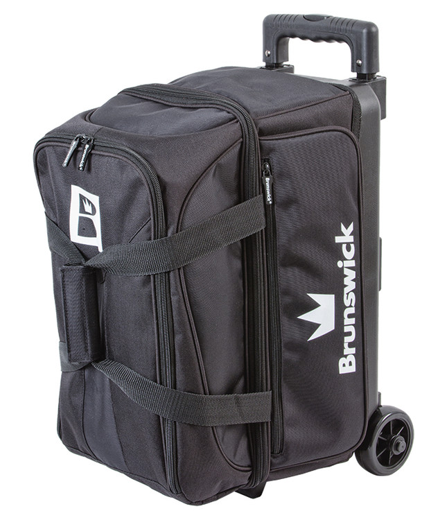Brunswick Blitz 2 Ball Double Roller Bowling Bag Black