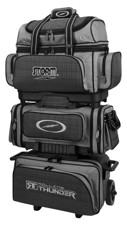 Storm Rolling Thunder 6-Ball Roller Bowling Bag Plaid Grey Black
