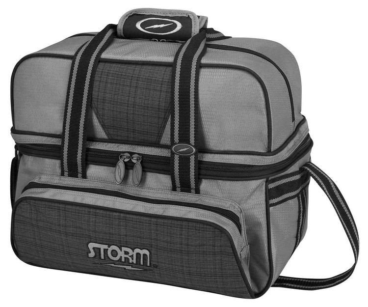 Storm Deluxe 2 Ball Tote Bowling Bag Plaid Grey Black