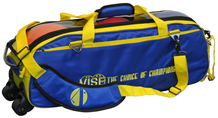 Vise 3 Ball Clear Top Roller Bowling Bag Blue Yellow