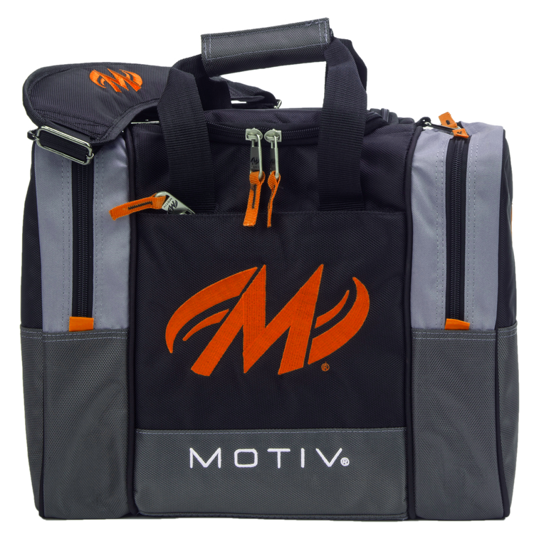 Motiv Shock 1 Ball Single Tote Bowling Bag Black Orange