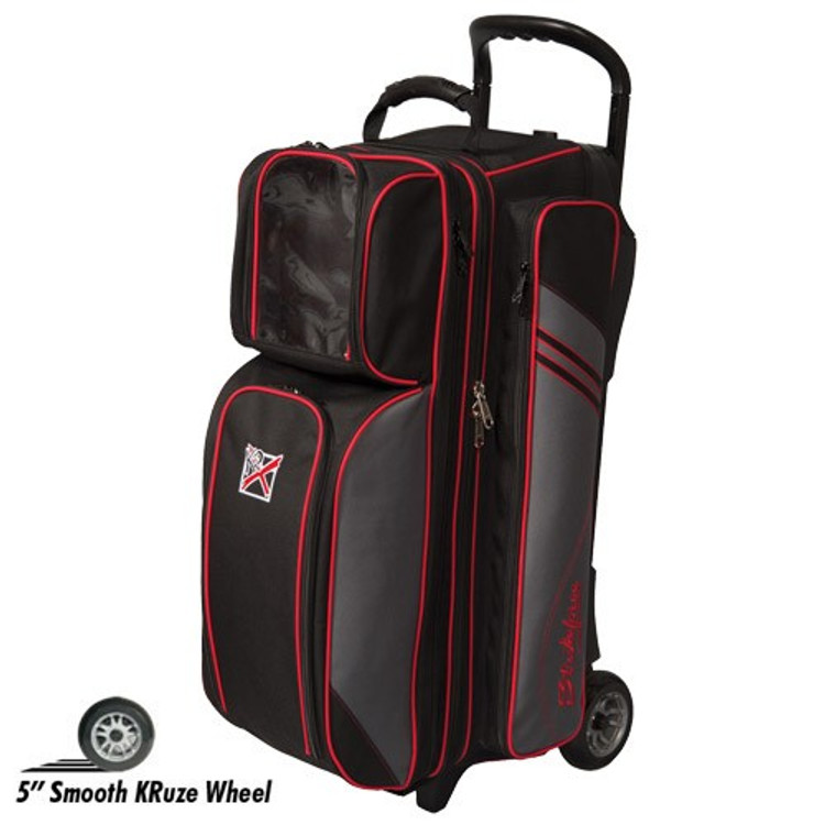 KR Lane Rover 3 Ball Roller Bowling Bag Black Grey Red