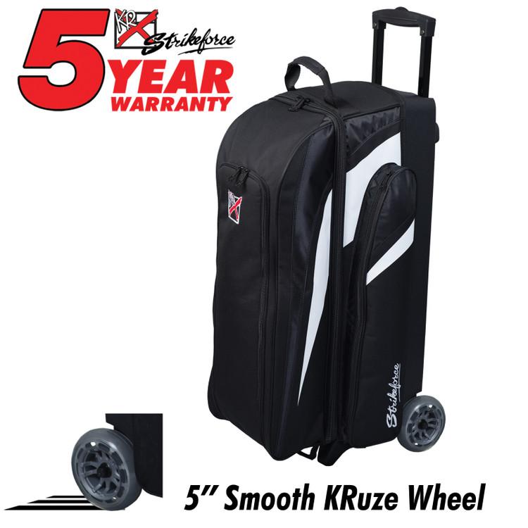 KR Cruiser Smooth 3 Ball Triple Roller Bowling Bag Black