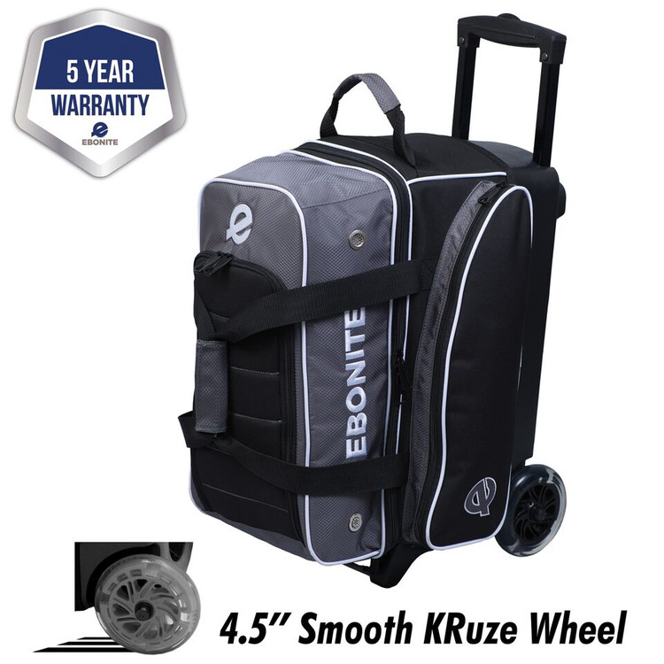 Ebonite Eclipse 2 Ball Double Roller Bowling Bag Smoke
