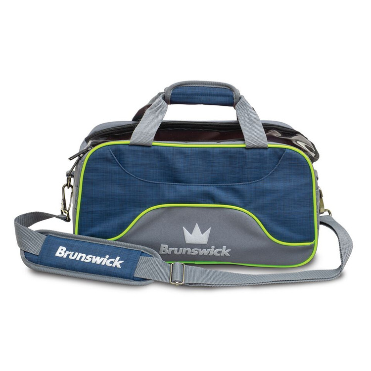 Brunswick Crown Deluxe 2 Ball Double Tote Bowling Bag Navy Lime