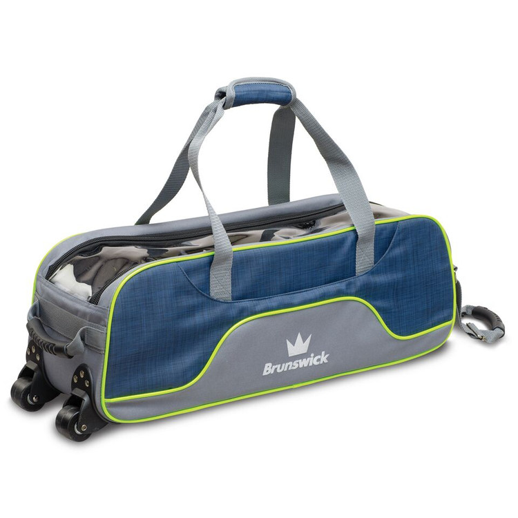 Brunswick Crown Deluxe 3 Ball Triple Tote Bowling Bag Navy Lime