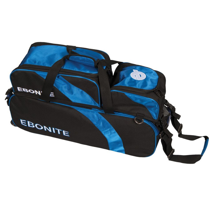 Ebonite Equinox Slim 3 Ball Triple Roller Bowling Bag with Shoe Pocket Black Blue