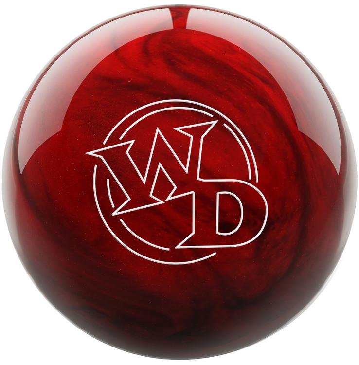 White Dot Bowling Ball Scarlet Front View