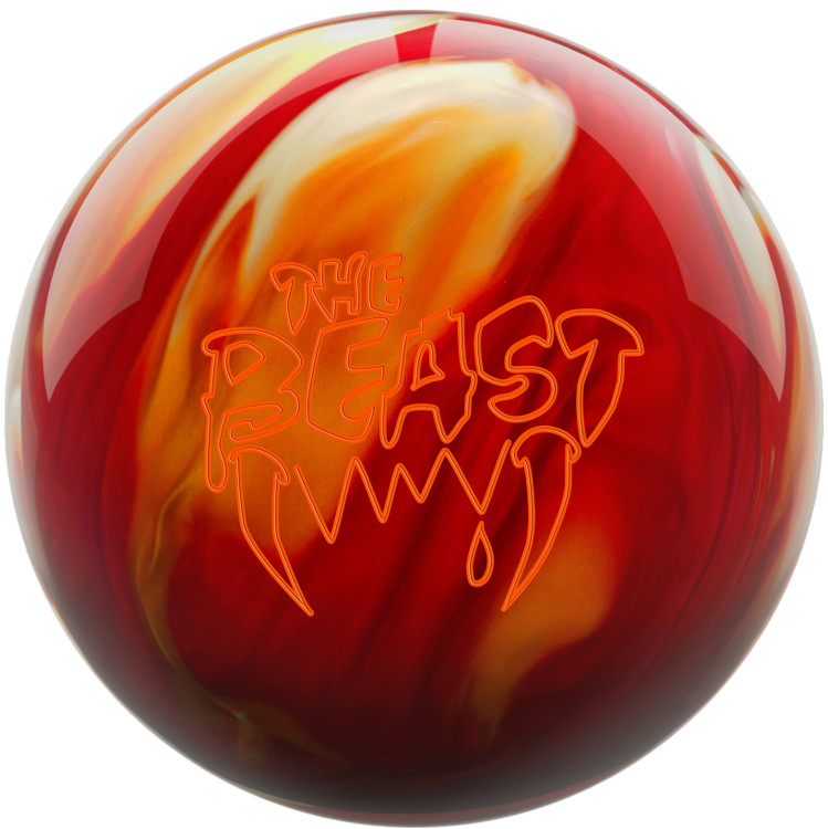 Beast Bowling Ball Cherry Gold White Front View