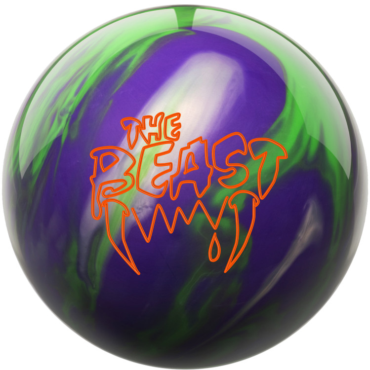 Beast Bowling Ball Purple Lime Silver Front View