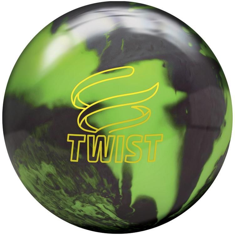 Twist Bowling Ball Neon Green Black Front View