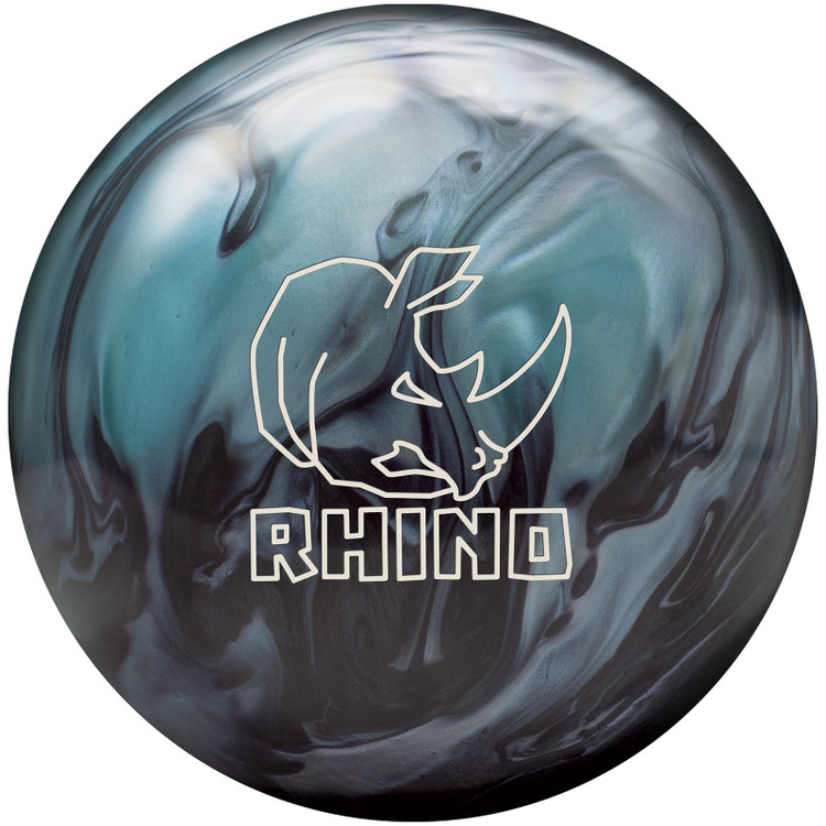 Rhino Bowling Ball Metallic Blue Black Front View