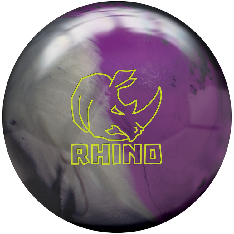 Rhino Bowling Ball Charcoal Silver Violet Front View