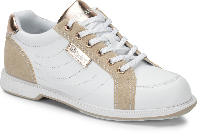 Dexter Groove IV Women's  Bowling Shoes White Nubuck Rose Gold Wide Width
