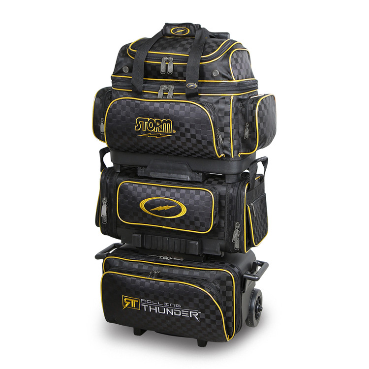 Storm Rolling Thunder 6-Ball Roller Bowling Bag Black Gold