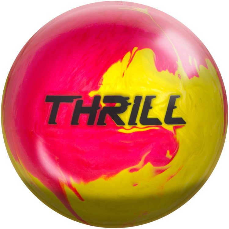 Motiv Thrill Bowling Ball Pink Yellow Pearl Front View