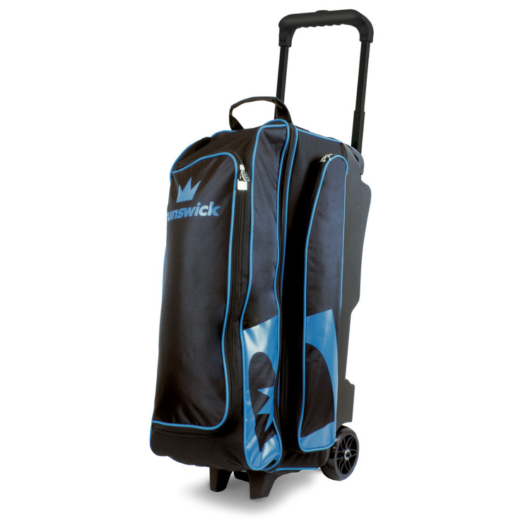Brunswick Blitz 3 Ball Triple Roller Bowling Bag Black Blue