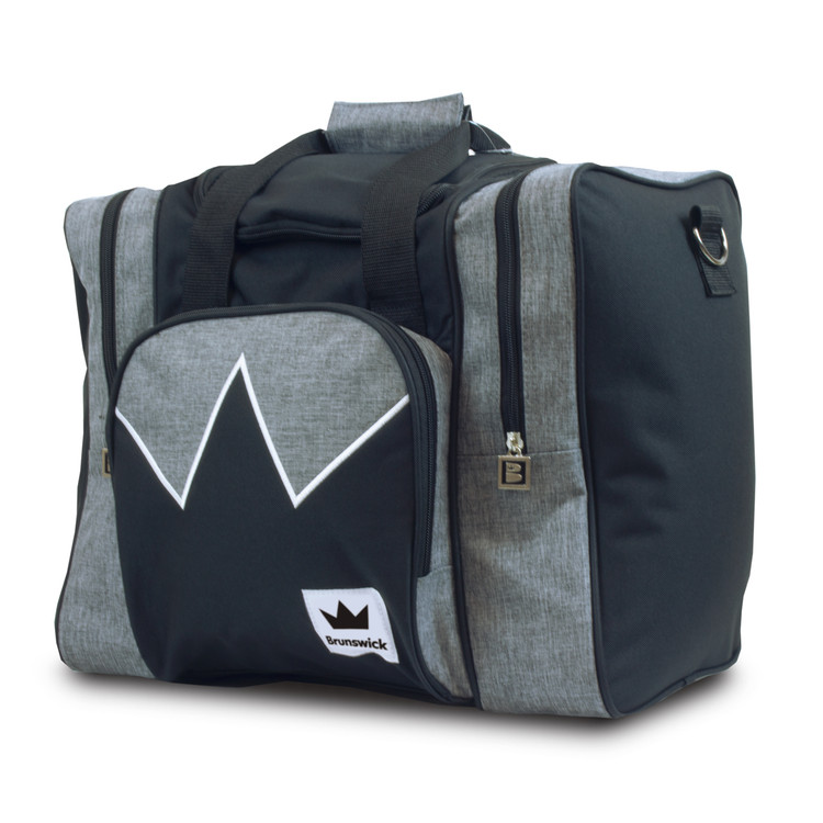 Brunswick Edge 1 Ball Single Tote Bowling Bag Grey Black